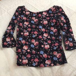 Tops - Floral high neck shirt